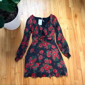 Free People floral long sleeve A line dress
